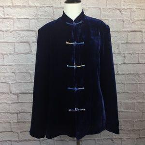 Vintage Jacket Women Small Asian Purple Velvet